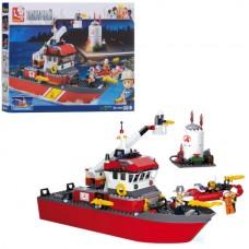 Конструктор SLUBAN M38-B0630 пожарный, катер, фигурки, 429дет
