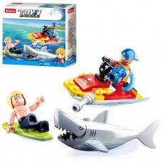 Конструктор SLUBAN M38-B0668 спасатели, катер, акула, фигурки, 49дет