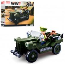 Конструктор SLUBAN M38-B0682 военный, машина, фигурка, 112дет