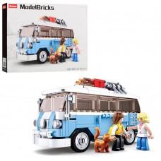 Конструктор SLUBAN M38-B0707 автобус15см, фигурки, животное, 227дет
