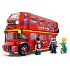 Конструктор SLUBAN M38-B0708 автобус 2эт, фигурки, велосипед, 382дет
