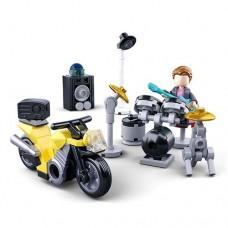 Конструктор SLUBAN M38-B0717B мотоцикл, барабан.установка, фигурка, 76 деталей, в кор