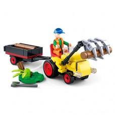 Конструктор SLUBAN M38-B0777 трактор с прицепом17, 5см, фигурка, 110дет