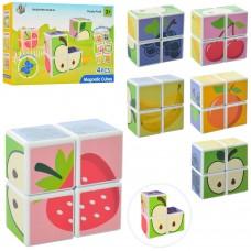 Конструктор HD344A магнитный, фрукты/ягоды, кубики-пазлы 4дет