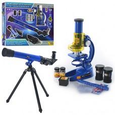 Микроскоп CQ 031 размер микроскопа 19, 5-11-7см, телескоп размер 43, 5-13-5, 5см, стекла 6шт, пробирки 2шт, 16 предметов, 44-39-8см