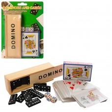 Домино DM25547-7 дерев, 2в1 карты, кубики, дерев.пенал