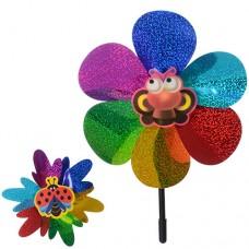 Ветрячок M 0801 размер маленький, диаметр 23 см, длина палочки 40 см, цветок, микс видов