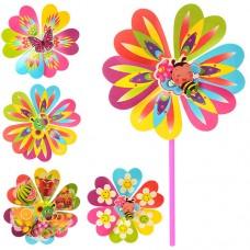 Ветрячок M 0804 2шт, размер сред, цветок, диаметр22см, палочка 28см, 6 видов