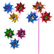 Ветрячок M 1747 размер маленький, диаметр 11 см, длина палочки 28 см, 3 цветочка, вертушка, 1 вид