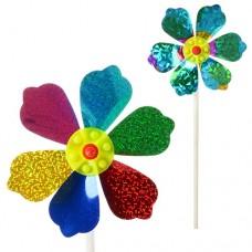 Ветрячок M 2410 Цветок, диаметр 14 см, палочка 27 см, фольга
