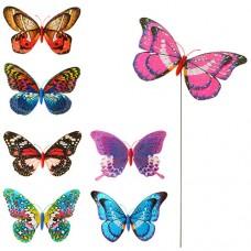 Ветрячок M 3722 размер маленький, диам.20см, бабочка, блеск, микс цветов, палочка