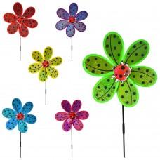 Ветрячок M 6027 размер средний, диам.28см, палочка50см, цветок, 6цветовке
