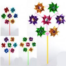 Ветрячок M 6234 цветок, диам. 28см, на палке 28см, фольга, 2вида