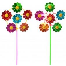 Ветрячок M 6235 цветок, диаметр 20 см, на палочке 28 см, фольга