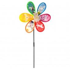 Ветрячок M 6242 цветок, единорог, диаметр 27 см, на палочке 48 см