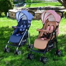 Прогулочная коляска Bambi M 3456-1, коричневый и коралловый