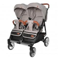 Детская прогулочная коляска для двойни Carrello CRL-5502 Connect Cotton Beige, лен, бежевый