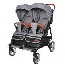 Детская прогулочная коляска для двойни Carrello CRL-5502 Connect Ink Gray, лен, серый