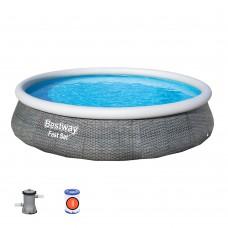 Надувной бассейн Bestway 57376 Семейный, 396 х 84 см, серый
