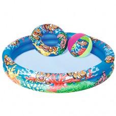 Надувной бассейн детский Bestway 51124 Подводный мир, 122 х 20 см, синий