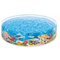 Каркасный бассейн детский Intex 58472 Коралловый риф, 244 х 46 см, голубой