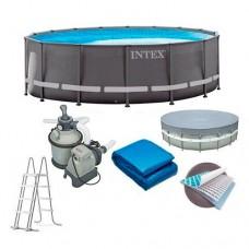 Каркасный бассейн Intex 26326, 488 х 122 см, серый