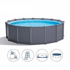 Каркасный бассейн Intex 26384, 478 х 124 см, серый
