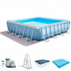 Каркасный бассейн Intex 26764, 427 х 427 х 107 см, голубой