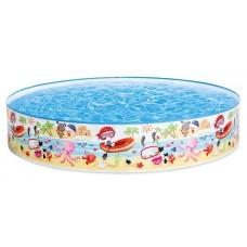 Каркасный бассейн детский Intex 56451 Пляж на мелководье, 152 х 25 см, голубой