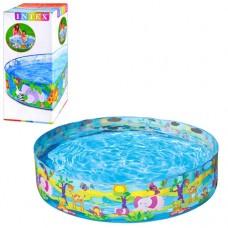 Каркасный бассейн детский Intex 58474 Джунгли, 122 х 25 см, голубой