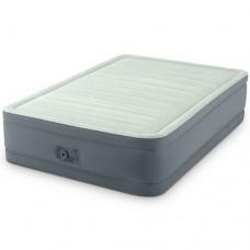 Велюр кровать 64904 137-191-46см, встроенный насос 220V, оливково-сер