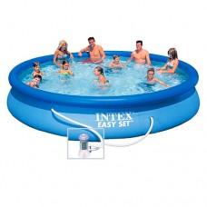 Надувной бассейн семейный Intex 28158, 457 х 84 см, синий