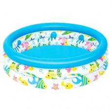 Надувной бассейн детский Bestway 51008 Рыбки, 102 х 25 см, голубой