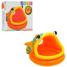 Надувной бассейн детский Intex 57109 Ленивая Рыба, 124 х 109 х 71 см, оранжевый
