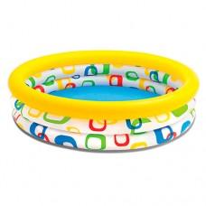 Надувной бассейн детский Intex 59419 Геометрия, 114 х 25 см, бело-желтый