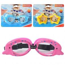 Очки для плавания 55603 детские, возраст от 3 до 8 лет, линзы противоконденсатные с УФ-защитой, регулируемый ремешок для головы, 3 вида оправа в виде морских животных, 20-15-4см