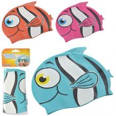 Шапочка 26025 для плавания в форме рыбки, 21-17, 5см, 3+, 3 цвета