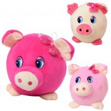Мягкая игрушка MP 1702 свинка, размер маленький, 14см, на присоске, 3цвета