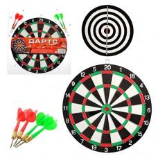 Дартс MS 0095 Спортивная игра, двухсторонний, дротики с иглой 4шт, в слюде, 33, 5-36, 5-1, 5см