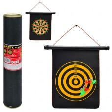 Дартс MS 0098 Спортивная игра, магнитный дартс двухсторонний, 9 дюймов, дротики с магнитом 6 шт, размер поля 34, 5-25см, в тубусе