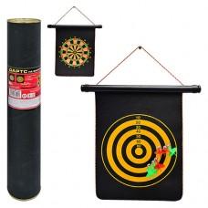 Дартс MS 0099 Спортивная игра, магнитный дартс двухсторонний, 12 дюймов, дротики с магнитом 6 шт, размер поля 40-32см, в тубусе