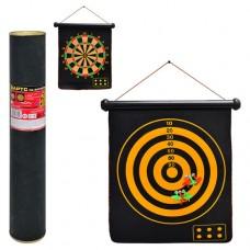 Дартс MS 0100 Спортивная игра, магнитный дартс двухсторонний, 15 дюймов, дротики с магнитом 6 шт, размер поля 45-37см, в тубусе