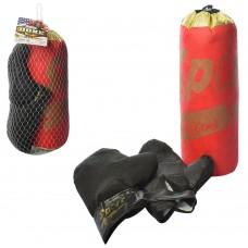 Боксерский набор M 5975-1 груша, 38см, наполнитель текстиль, перчатки, в сетке