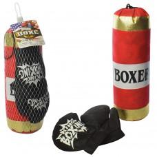 Боксерский набор M 5975-2 груша, 37см, наполнитель текстиль, перчатки2шт, в сетке