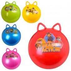 Мяч для фитнеса MS 1583-1 ЩП, с ушками, 50см, 1-стикерн, 400г, 3вид, микс цв