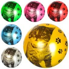 Мяч детский MS 1591 9дюймов, кот, рисунок, 1вид, 6цветов, 60-65г