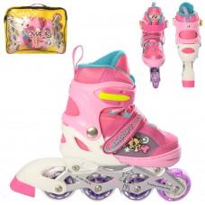 Ролики детские раздвижные Profi A 11126-S-2, размер 30-33, розовый