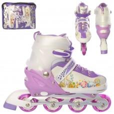 Ролики детские раздвижные Profi A 12100-5-L-1, размер 39-42, фиолетовый