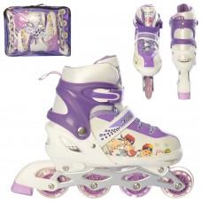 Ролики детские раздвижные Profi A 12100-5-L-3, размер 39-42, фиолетовый