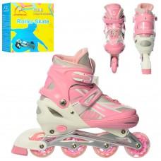 Ролики детские раздвижные Profi A 17116-5-L, размер 39-42, розовый
